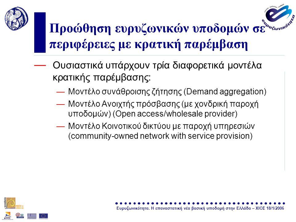 Ευρυζωνικότητα. Η επαναστατική νέα βασική υποδομή στην Ελλάδα – ΧΙΟΣ 18/1/2006 σελίδα 29 Προώθηση ευρυζωνικών υποδομών σε περιφέρειες με κρατική παρέμ