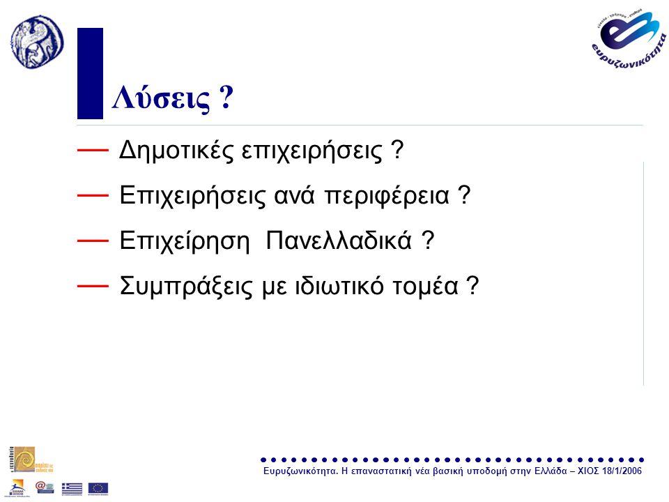 Ευρυζωνικότητα. Η επαναστατική νέα βασική υποδομή στην Ελλάδα – ΧΙΟΣ 18/1/2006 σελίδα 30 Λύσεις ? — Δημοτικές επιχειρήσεις ? — Επιχειρήσεις ανά περιφέ