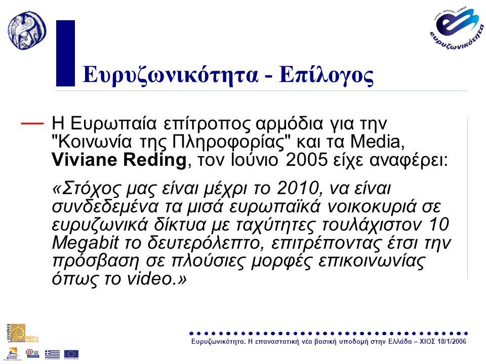 Ευρυζωνικότητα. Η επαναστατική νέα βασική υποδομή στην Ελλάδα – ΧΙΟΣ 18/1/2006 σελίδα 33 Ευρυζωνικότητα - Επίλογος — Η Ευρωπαία επίτροπος αρμόδια για