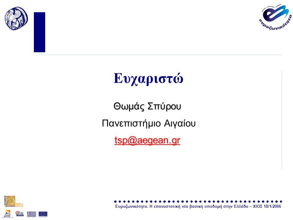 Ευρυζωνικότητα. Η επαναστατική νέα βασική υποδομή στην Ελλάδα – ΧΙΟΣ 18/1/2006 σελίδα 34 Ευχαριστώ Θωμάς Σπύρου Πανεπιστήμιο Αιγαίου tsp@aegean.gr