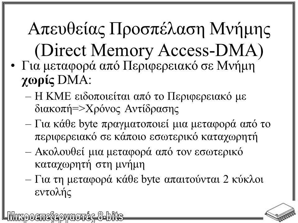 Απευθείας Προσπέλαση Μνήμης (Direct Memory Access-DMA) •Για μεταφορά από Περιφερειακό σε Μνήμη χωρίς DMA: –Η ΚΜΕ ειδοποιείται από το Περιφερειακό με δ