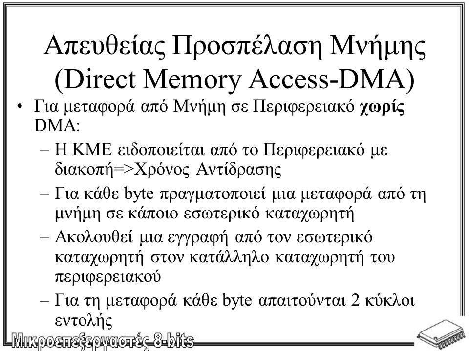 Απευθείας Προσπέλαση Μνήμης (Direct Memory Access-DMA) •Για μεταφορά από Μνήμη σε Περιφερειακό χωρίς DMA: –Η ΚΜΕ ειδοποιείται από το Περιφερειακό με δ