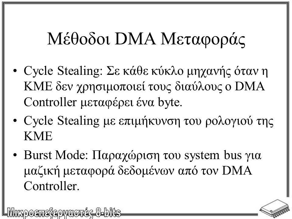 •Cycle Stealing: Σε κάθε κύκλο μηχανής όταν η ΚΜΕ δεν χρησιμοποιεί τους διαύλους ο DMA Controller μεταφέρει ένα byte. •Cycle Stealing με επιμήκυνση το