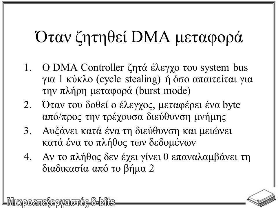 Όταν ζητηθεί DMA μεταφορά 1.Ο DMA Controller ζητά έλεγχο του system bus για 1 κύκλο (cycle stealing) ή όσο απαιτείται για την πλήρη μεταφορά (burst mo
