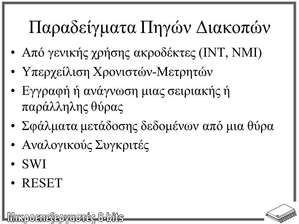 Παραδείγματα Πηγών Διακοπών •Από γενικής χρήσης ακροδέκτες (INT, NMI) •Υπερχείλιση Χρονιστών-Μετρητών •Εγγραφή ή ανάγνωση μιας σειριακής ή παράλληλης