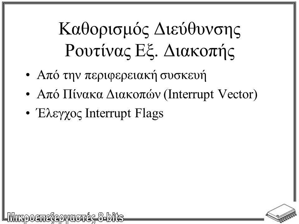Καθορισμός Διεύθυνσης Ρουτίνας Εξ. Διακοπής •Από την περιφερειακή συσκευή •Από Πίνακα Διακοπών (Interrupt Vector) •Έλεγχος Interrupt Flags