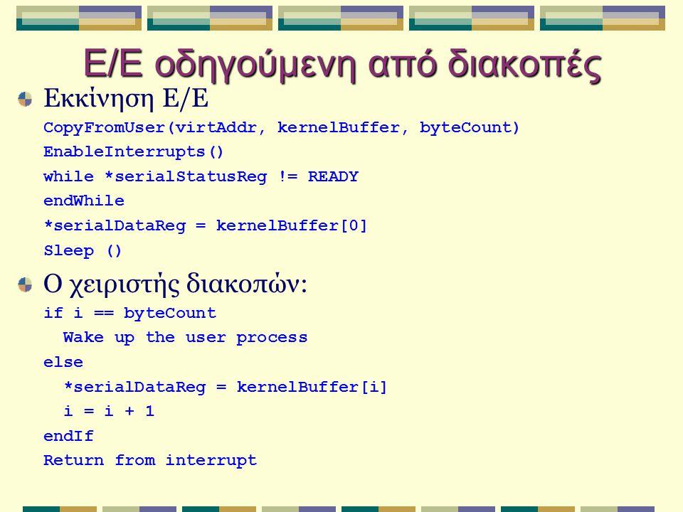 Ε/Ε οδηγούμενη από διακοπές Εκκίνηση Ε/Ε CopyFromUser(virtAddr, kernelBuffer, byteCount) EnableInterrupts() while *serialStatusReg != READY endWhile *