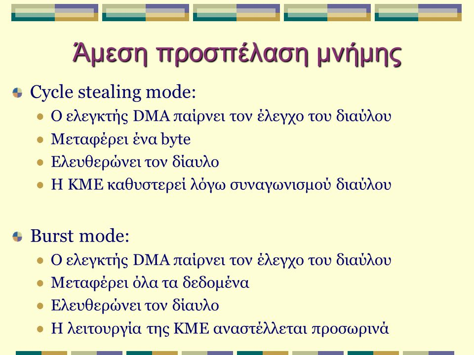 Cycle stealing mode:  Ο ελεγκτής DMA παίρνει τον έλεγχο του διαύλου  Μεταφέρει ένα byte  Ελευθερώνει τον δίαυλο  Η ΚΜΕ καθυστερεί λόγω συναγωνισμο