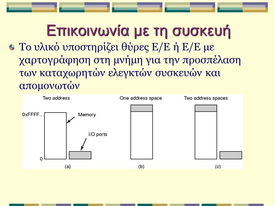 Επικοινωνία με τη συσκευή Το υλικό υποστηρίζει θύρες Ε/Ε ή Ε/Ε με χαρτογράφηση στη μνήμη για την προσπέλαση των καταχωρητών ελεγκτών συσκευών και απομ