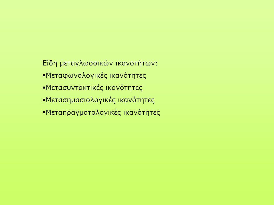 Είδη μεταγλωσσικών ικανοτήτων:  Μεταφωνολογικές ικανότητες  Μετασυντακτικές ικανότητες  Μετασημασιολογικές ικανότητες  Μεταπραγματολογικές ικανότη