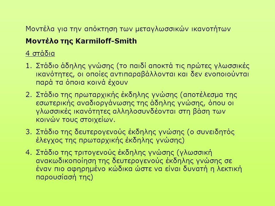 Μοντέλα για την απόκτηση των μεταγλωσσικών ικανοτήτων Μοντέλο της Karmiloff-Smith 4 στάδια 1.Στάδιο άδηλης γνώσης (το παιδί αποκτά τις πρώτες γλωσσικέ