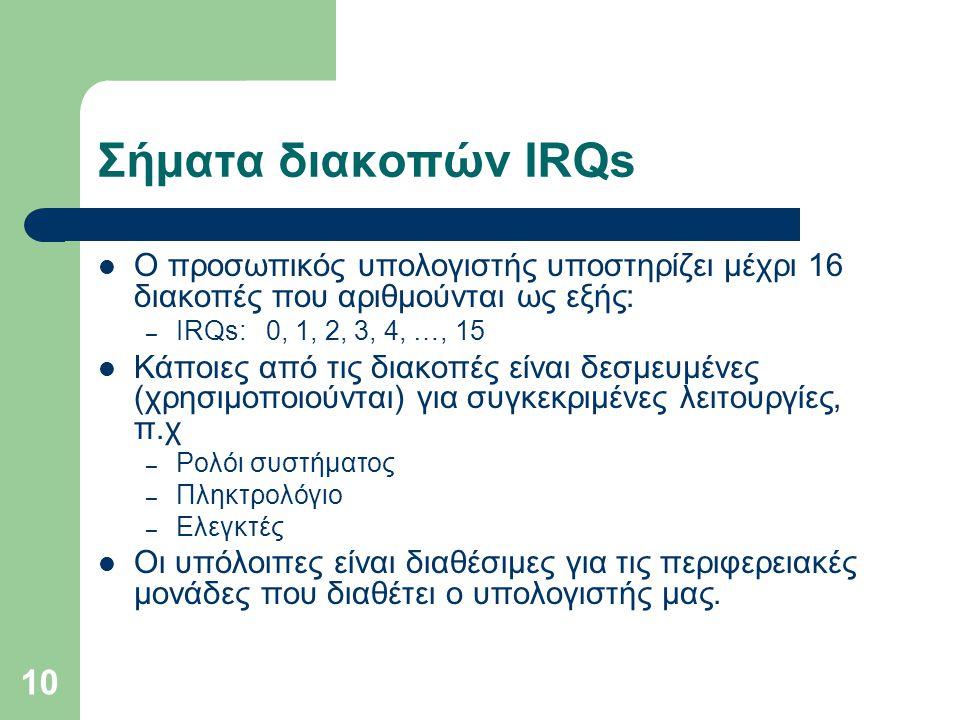 10 Σήματα διακοπών IRQs  Ο προσωπικός υπολογιστής υποστηρίζει μέχρι 16 διακοπές που αριθμούνται ως εξής: – IRQs: 0, 1, 2, 3, 4, …, 15  Κάποιες από τ