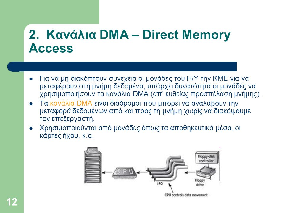 12 2. Κανάλια DMA – Direct Memory Access  Για να μη διακόπτουν συνέχεια οι μονάδες του Η/Υ την ΚΜΕ για να μεταφέρουν στη μνήμη δεδομένα, υπάρχει δυνα