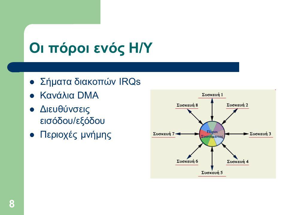 8 Οι πόροι ενός Η/Υ  Σήματα διακοπών IRQs  Κανάλια DMA  Διευθύνσεις εισόδου/εξόδου  Περιοχές μνήμης