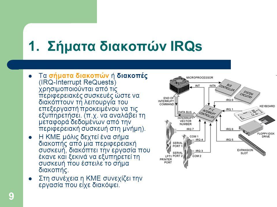 9 1. Σήματα διακοπών IRQs  Τα σήματα διακοπών ή διακοπές (IRQ-Interrupt ReQuests) χρησιμοποιούνται από τις περιφερειακές συσκευές ώστε να διακόπτουν