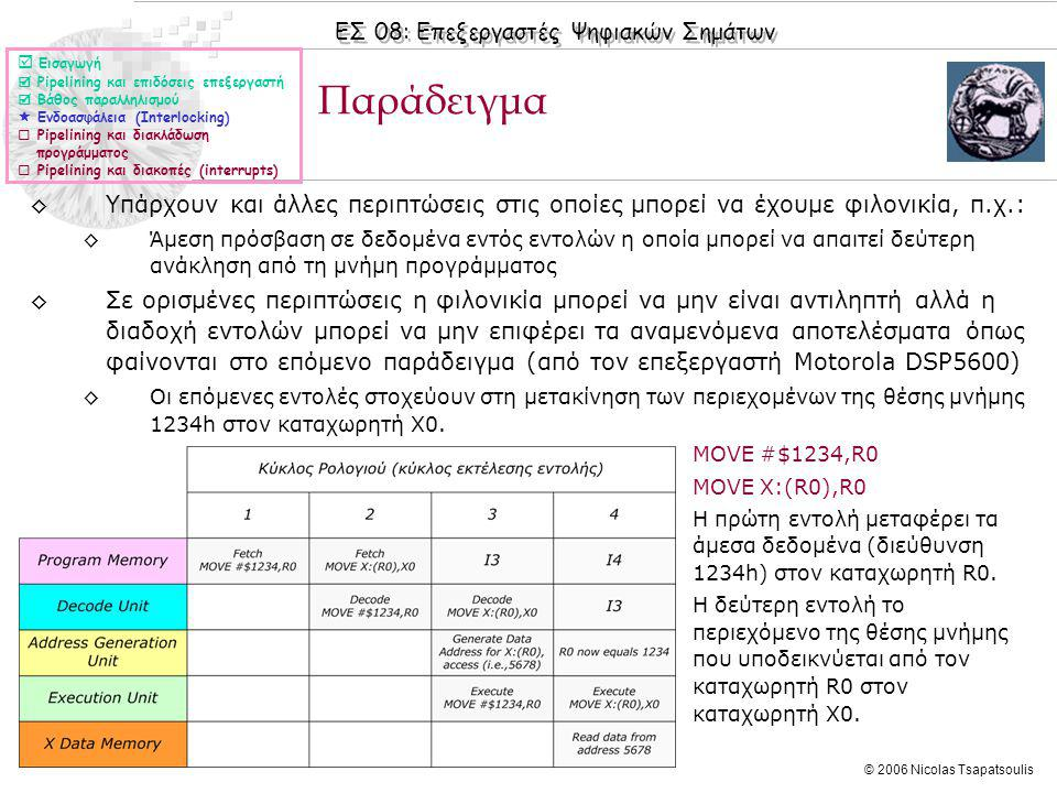 ΕΣ 08: Επεξεργαστές Ψηφιακών Σημάτων © 2006 Nicolas Tsapatsoulis ◊MOVE #$1234,R0 ◊MOVE X:(R0),R0 ◊Η πρώτη εντολή μεταφέρει τα άμεσα δεδομένα (διεύθυνση 1234h) στον καταχωρητή R0.
