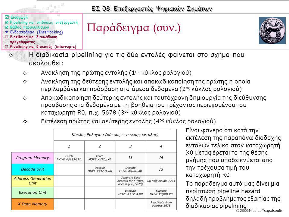 ΕΣ 08: Επεξεργαστές Ψηφιακών Σημάτων © 2006 Nicolas Tsapatsoulis ◊Είναι φανερό ότι κατά την εκτέλεση της παραπάνω διαδοχής εντολών τελικά στον καταχωρητή Χ0 μεταφέρεται το της θέσης μνήμης που υποδεικνύεται από την τρέχουσα τιμή του καταχωρητή R0 ◊Το παράδειγμα αυτό μας δίνει μια περίπτωση pipeline hazard δηλαδή προβλήματος εξαιτίας της διαδικασίας pipelining Παράδειγμα (συν.)  Εισαγωγή  Pipelining και επιδόσεις επεξεργαστή  Βάθος παραλληλισμού  Ενδοασφάλεια (Interlocking)  Pipelining και διακλάδωση προγράμματος  Pipelining και διακοπές (interrupts) ◊Η διαδικασία pipelining για τις δύο εντολές φαίνεται στο σχήμα που ακολουθεί: ◊Ανάκληση της πρώτης εντολής (1 ος κύκλος ρολογιού) ◊Ανάκληση της δεύτερης εντολής και αποκωδικοποίηση της πρώτης η οποία περιλαμβάνει και πρόσβαση στα άμεσα δεδομένα (2 ος κύκλος ρολογιού) ◊Αποκωδικοποίηση δεύτερης εντολής και ταυτόχρονη δημιουργία της διεύθυνσης πρόσβασης στα δεδομένα με τη βοήθεια του τρέχοντος περιεχομένου του καταχωρητή R0, π.χ.
