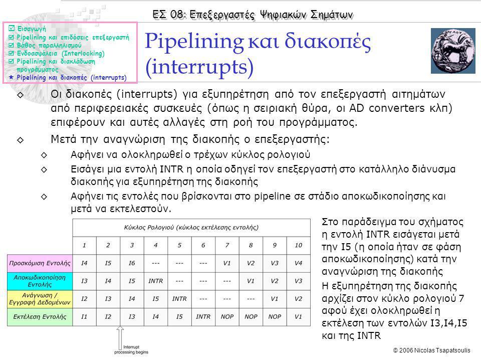 ΕΣ 08: Επεξεργαστές Ψηφιακών Σημάτων © 2006 Nicolas Tsapatsoulis ◊Οι διακοπές (interrupts) για εξυπηρέτηση από τον επεξεργαστή αιτημάτων από περιφερειακές συσκευές (όπως η σειριακή θύρα, οι AD converters κλπ) επιφέρουν και αυτές αλλαγές στη ροή του προγράμματος.