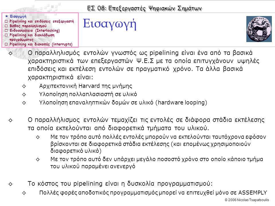 ΕΣ 08: Επεξεργαστές Ψηφιακών Σημάτων © 2006 Nicolas Tsapatsoulis ◊Ο παραλληλισμός εντολών γνωστός ως pipelining είναι ένα από τα βασικά χαρακτηριστικά των επεξεργαστών Ψ.Ε.Σ με τα οποία επιτυγχάνουν υψηλές επιδόσεις και εκτέλεση εντολών σε πραγματικό χρόνο.