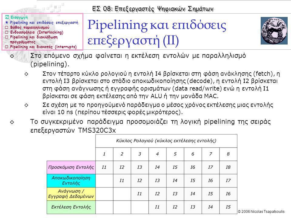 ΕΣ 08: Επεξεργαστές Ψηφιακών Σημάτων © 2006 Nicolas Tsapatsoulis ◊Στο επόμενο σχήμα φαίνεται η εκτέλεση εντολών με παραλληλισμό (pipelining).