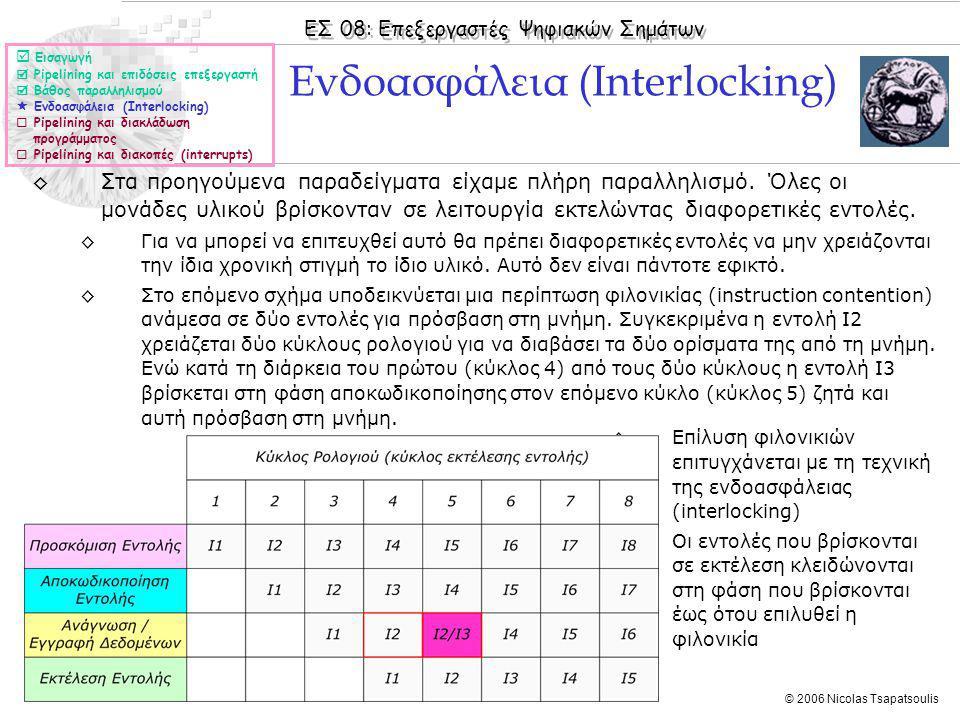 ΕΣ 08: Επεξεργαστές Ψηφιακών Σημάτων © 2006 Nicolas Tsapatsoulis ◊Στα προηγούμενα παραδείγματα είχαμε πλήρη παραλληλισμό.