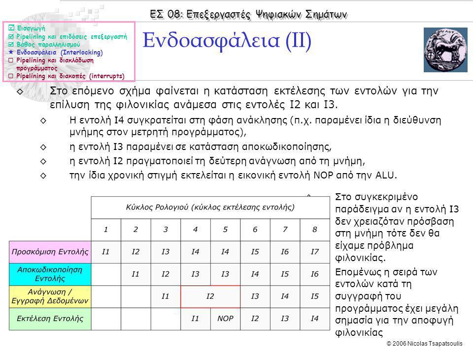 ΕΣ 08: Επεξεργαστές Ψηφιακών Σημάτων © 2006 Nicolas Tsapatsoulis ◊Στο επόμενο σχήμα φαίνεται η κατάσταση εκτέλεσης των εντολών για την επίλυση της φιλονικίας ανάμεσα στις εντολές I2 και Ι3.