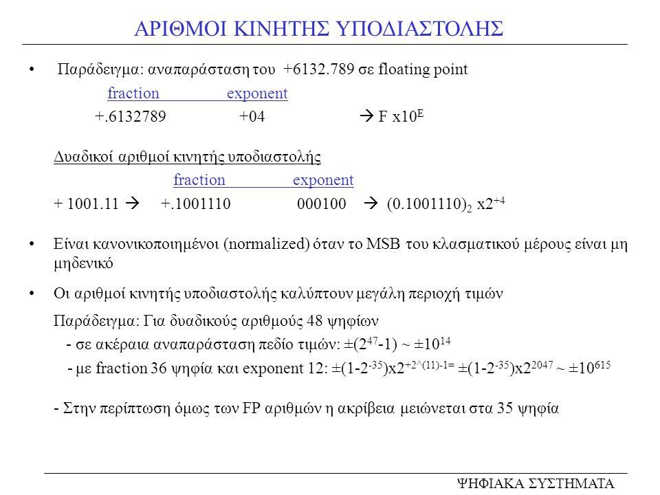 ΑΡΙΘΜΟΙ ΚΙΝΗΤΗΣ ΥΠΟΔΙΑΣΤΟΛΗΣ • Παράδειγμα: αναπαράσταση του +6132.789 σε floating point fractionexponent +.6132789 +04  F x10 E Δυαδικοί αριθμοί κινη