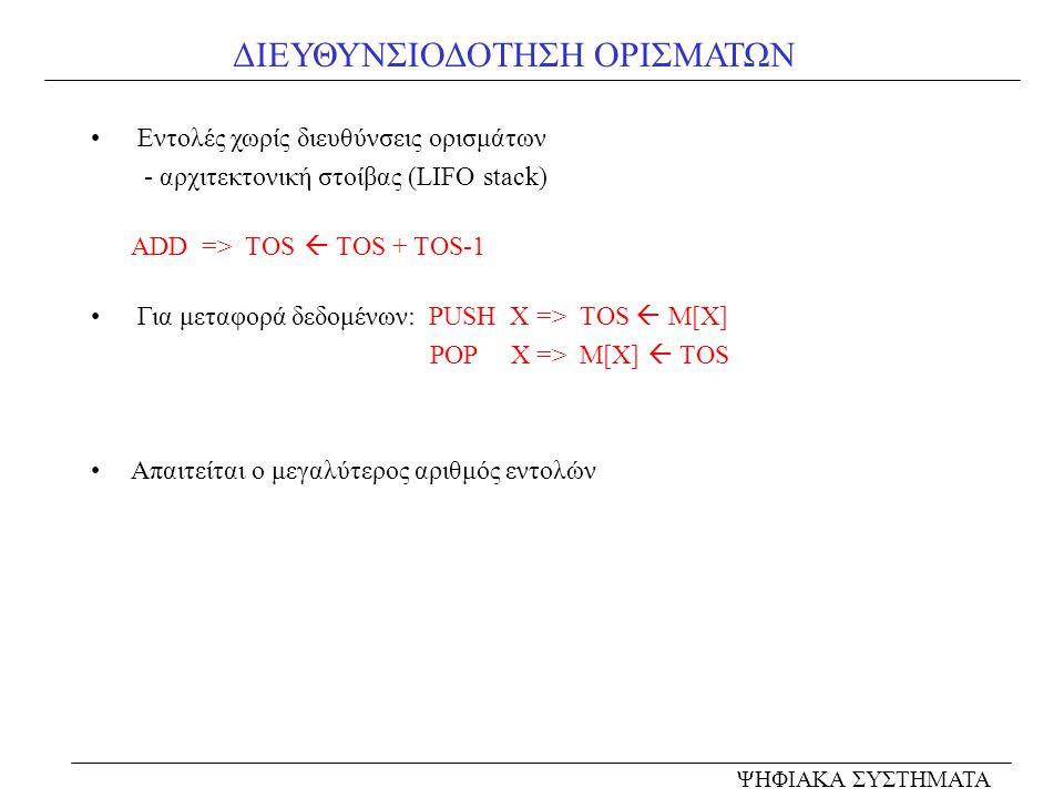 ΔΙΕΥΘΥΝΣΙΟΔΟΤΗΣΗ ΟΡΙΣΜΑΤΩΝ • Εντολές χωρίς διευθύνσεις ορισμάτων - αρχιτεκτονική στοίβας (LIFO stack) ADD => TOS  TOS + TOS-1 • Για μεταφορά δεδομένω