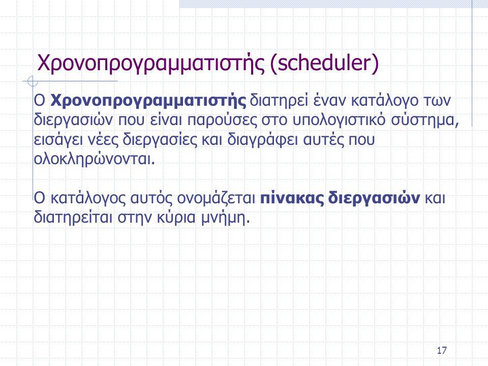 17 Χρονοπρογραμματιστής (scheduler) Ο Xρονοπρογραμματιστής διατηρεί έναν κατάλογο των διεργασιών που είναι παρούσες στο υπολογιστικό σύστημα, εισάγει νέες διεργασίες και διαγράφει αυτές που ολοκληρώνονται.