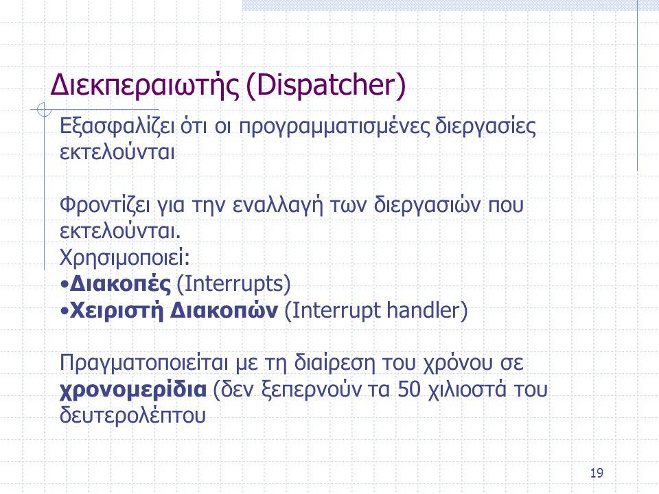 19 Διεκπεραιωτής (Dispatcher) Εξασφαλίζει ότι οι προγραμματισμένες διεργασίες εκτελούνται Φροντίζει για την εναλλαγή των διεργασιών που εκτελούνται.