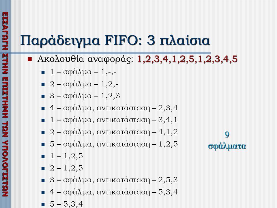ΕΙΣΑΓΩΓΗ ΣΤΗΝ ΕΠΙΣΤΗΜΗ ΤΩΝ ΥΠΟΛΟΓΙΣΤΩΝ Παράδειγμα FIFO: 3 πλαίσια  Ακολουθία αναφοράς: 1,2,3,4,1,2,5,1,2,3,4,5  1 – σφάλμα – 1,-,-  2 – σφάλμα – 1,2,-  3 – σφάλμα – 1,2,3  4 – σφάλμα, αντικατάσταση – 2,3,4  1 – σφάλμα, αντικατάσταση – 3,4,1  2 – σφάλμα, αντικατάσταση – 4,1,2  5 – σφάλμα, αντικατάσταση – 1,2,5  1 – 1,2,5  2 – 1,2,5  3 – σφάλμα, αντικατάσταση – 2,5,3  4 – σφάλμα, αντικατάσταση – 5,3,4  5 – 5,3,4 9 σφάλματα