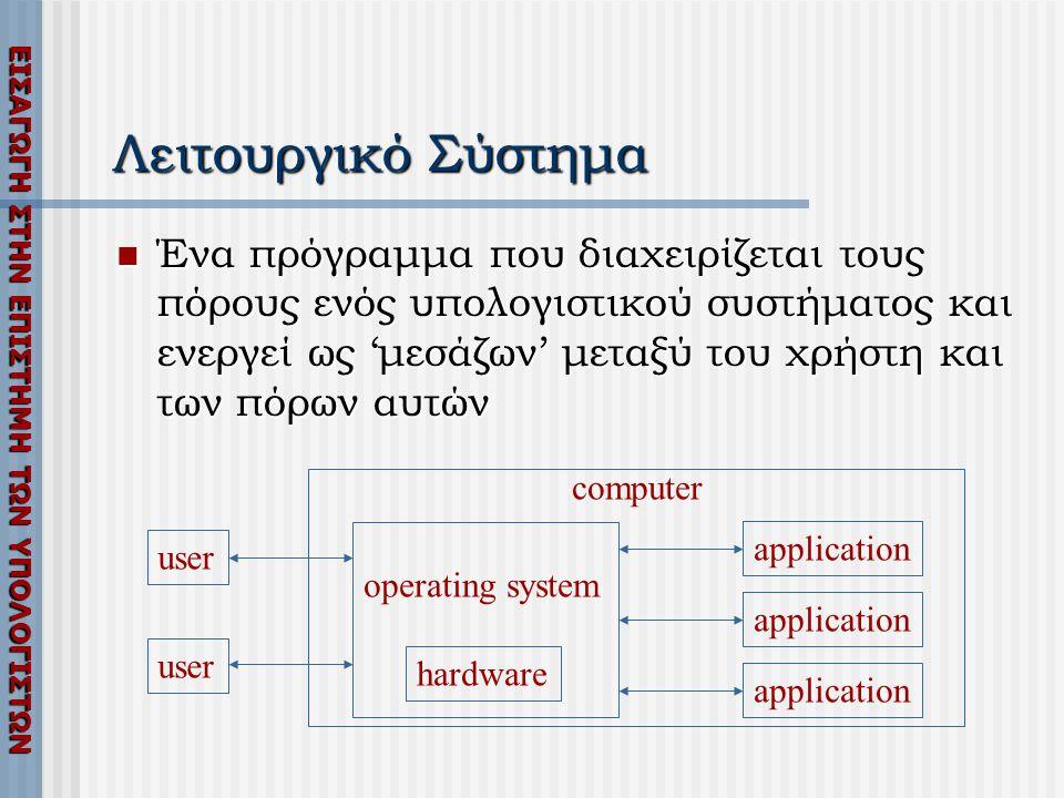 ΕΙΣΑΓΩΓΗ ΣΤΗΝ ΕΠΙΣΤΗΜΗ ΤΩΝ ΥΠΟΛΟΓΙΣΤΩΝ Λειτουργικό Σύστημα  Ένα πρόγραμμα που διαχειρίζεται τους πόρους ενός υπολογιστικού συστήματος και ενεργεί ως 'μεσάζων' μεταξύ του χρήστη και των πόρων αυτών hardware operating system computer application user