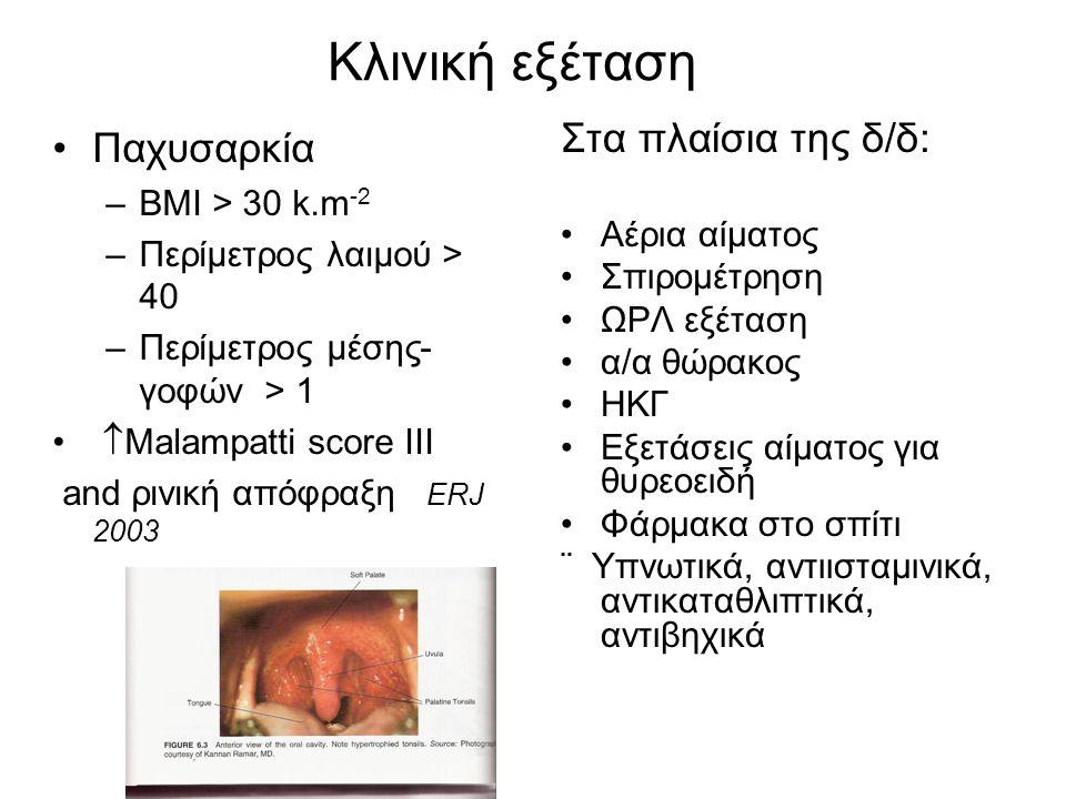 Κλινική εξέταση •Παχυσαρκία –BMI > 30 k.m -2 –Περίμετρος λαιμού > 40 –Περίμετρος μέσης- γοφών > 1 •  Malampatti score ΙΙΙ and ρινική απόφραξη ERJ 200