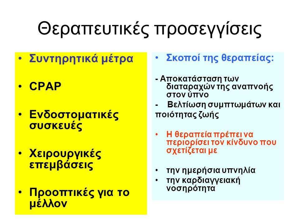Θεραπευτικές προσεγγίσεις •Συντηρητικά μέτρα •CPAP •Ενδοστοματικές συσκευές •Xειρουργικές επεμβάσεις •Προοπτικές για το μέλλον •Σκοποί της θεραπείας: