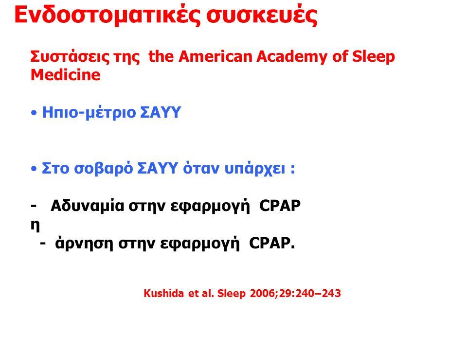 Ενδοστοματικές συσκευές Συστάσεις της the American Academy of Sleep Medicine • Ηπιο-μέτριο ΣΑΥΥ • Στο σοβαρό ΣΑΥΥ όταν υπάρχει : - Αδυναμία στην εφαρμ
