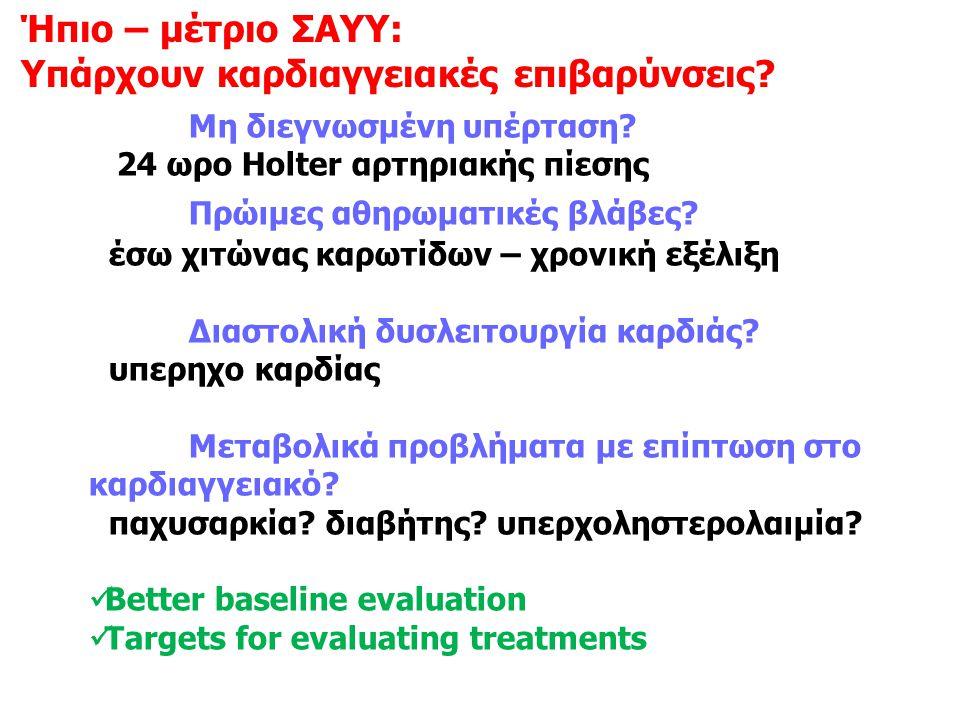 Μη διεγνωσμένη υπέρταση? 24 ωρο Ηοlter αρτηριακής πίεσης Πρώιμες αθηρωματικές βλάβες? έσω χιτώνας καρωτίδων – χρονική εξέλιξη Διαστολική δυσλειτουργία