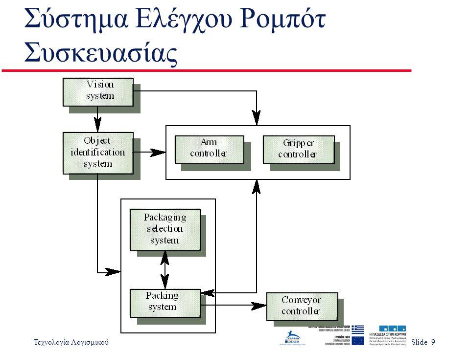 Τεχνολογία ΛογισμικούSlide 9 Σύστημα Ελέγχου Ρομπότ Συσκευασίας