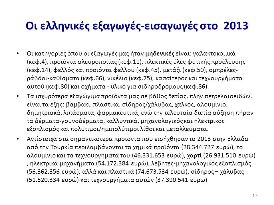 Οι ελληνικές εξαγωγές-εισαγωγές στο 2013 • Οι κατηγορίες όπου οι εξαγωγές μας ήταν μηδενικές είναι: γαλακτοκομικά (κεφ.4), προϊόντα αλευροποιίας (κεφ.
