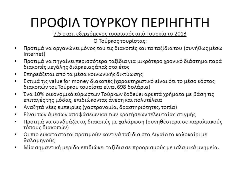 ΠΡΟΦΙΛ ΤΟΥΡΚΟΥ ΠΕΡΙΗΓΗΤΗ 7,5 εκατ. εξερχόμενος τουρισμός από Τουρκία το 2013 Ο Τούρκος τουρίστας: • Προτιμά να οργανώνει μόνος του τις διακοπές και τα