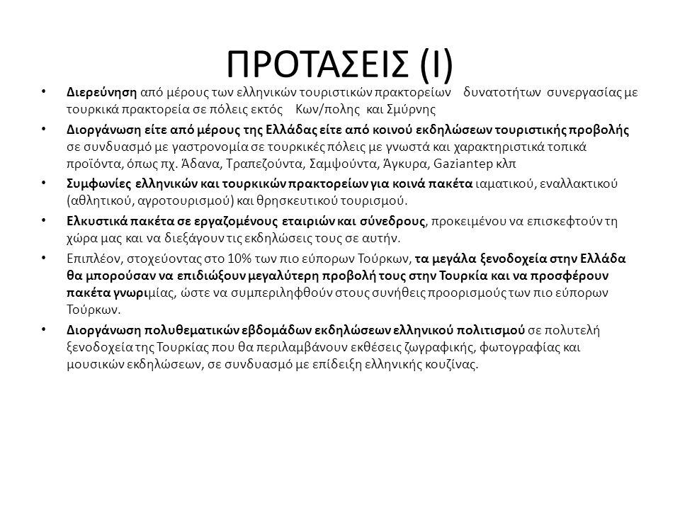 ΠΡΟΤΑΣΕΙΣ (Ι) • Διερεύνηση από μέρους των ελληνικών τουριστικών πρακτορείων δυνατοτήτων συνεργασίας με τουρκικά πρακτορεία σε πόλεις εκτός Κων/πολης κ
