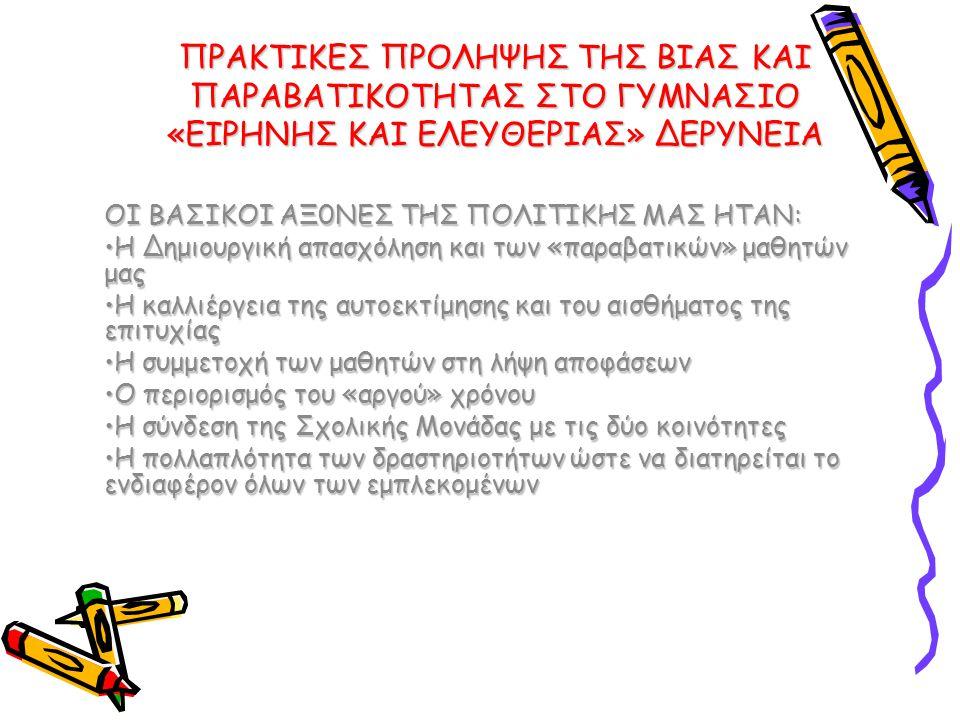 ΠΡΑΚΤΙΚΕΣ ΠΡΟΛΗΨΗΣ ΤΗΣ ΒΙΑΣ ΚΑΙ ΠΑΡΑΒΑΤΙΚΟΤΗΤΑΣ ΣΤΟ ΓΥΜΝΑΣΙΟ «ΕΙΡΗΝΗΣ ΚΑΙ ΕΛΕΥΘΕΡΙΑΣ» ΔΕΡΥΝΕΙΑ ΟΙ ΒΑΣΙΚΟΙ ΑΞ0ΝΕΣ ΤΗΣ ΠΟΛΙΤΙΚΗΣ ΜΑΣ ΗΤΑΝ: •Η Δημιουργική απασχόληση και των «παραβατικών» μαθητών μας •Η καλλιέργεια της αυτοεκτίμησης και του αισθήματος της επιτυχίας •Η συμμετοχή των μαθητών στη λήψη αποφάσεων •Ο περιορισμός του «αργού» χρόνου •Η σύνδεση της Σχολικής Μονάδας με τις δύο κοινότητες •Η πολλαπλότητα των δραστηριοτήτων ώστε να διατηρείται το ενδιαφέρον όλων των εμπλεκομένων