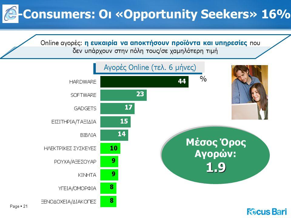 Page  21 Online αγορές: η ευκαιρία να αποκτήσουν προϊόντα και υπηρεσίες που δεν υπάρχουν στην πόλη τους/σε χαμηλότερη τιμή Αγορές Online (τελ. 6 μήνε