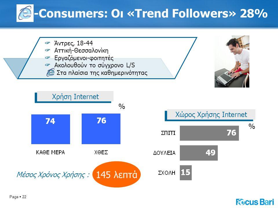 Page  22 -Consumers: Οι «Trend Followers» 28% Χώρος Χρήσης Internet % Μέσος Χρόνος Χρήσης : Χρήση Internet % 145 λεπτά  Άντρες, 18-44  Αττική-Θεσσαλονίκη  Εργαζόμενοι-φοιτητές  Ακολουθούν το σύγχρονο L/S Στα πλαίσια της καθημερινότητας