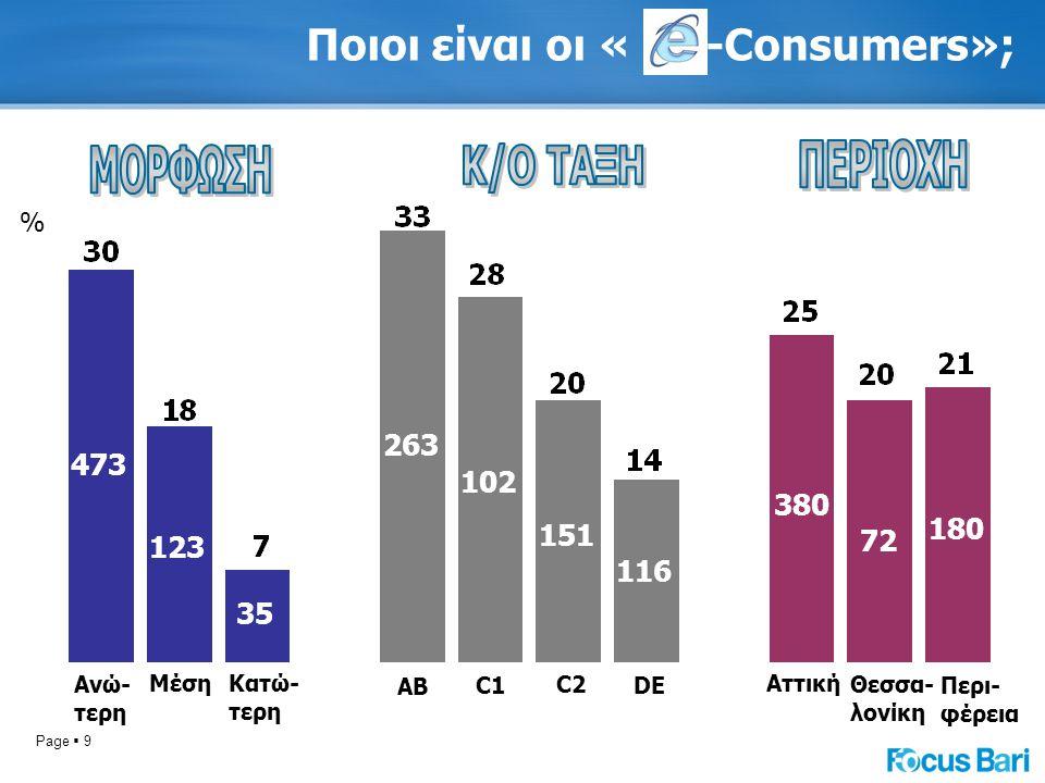 Page  9 Ποιοι είναι οι « -Consumers»; % Ανώ- τερη ΜέσηΚατώ- τερη ΑΒ C1 C2 DE Αττική Θεσσα- λονίκη Περι- φέρεια 473 123 35 263 102 151 116 380 72 180