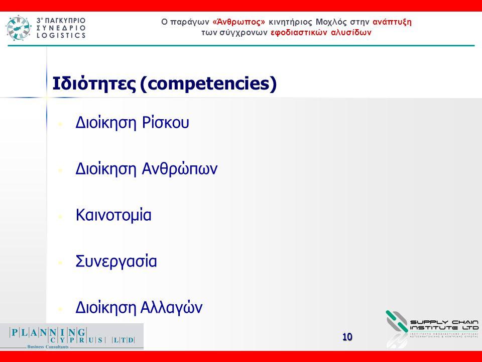 Ο παράγων «Άνθρωπος» κινητήριος Μοχλός στην ανάπτυξη των σύγχρονων εφοδιαστικών αλυσίδων Ιδιότητες (competencies) • Διοίκηση Ρίσκου • Διοίκηση Ανθρώπω