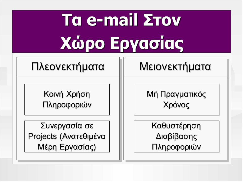 Τα e-mail Στον Χώρο Εργασίας ΜειονεκτήματαΜειονεκτήματαΠλεονεκτήματαΠλεονεκτήματα Συνεργασία σε Projects (Ανατεθιμένα Μέρη Εργασίας) Συνεργασία σε Pro