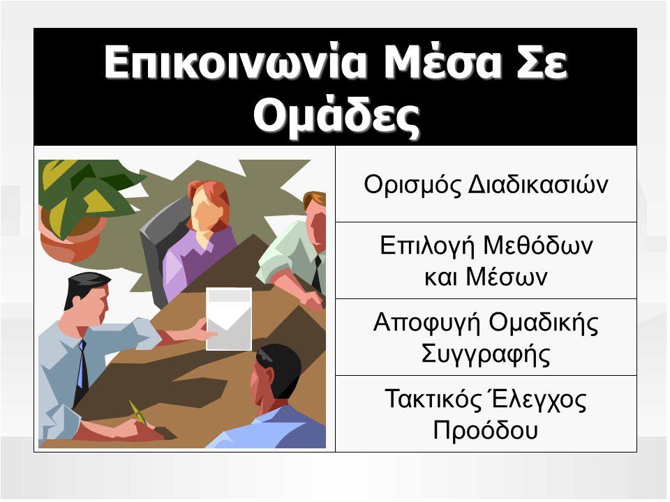 Επικοινωνία Μέσα Σε Ομάδες Ορισμός Διαδικασιών Επιλογή Μεθόδων και Μέσων Αποφυγή Ομαδικής Συγγραφής Τακτικός Έλεγχος Προόδου