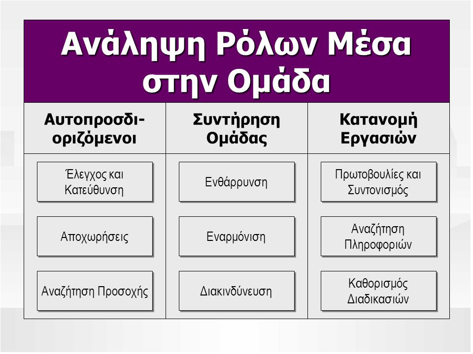 Ανάληψη Ρόλων Μέσα στην Ομάδα Αυτοπροσδι- οριζόμενοι Συντήρηση Ομάδας Κατανομή Εργασιών Πρωτοβουλίες και Συντονισμός Πρωτοβουλίες και Συντονισμός Αναζ