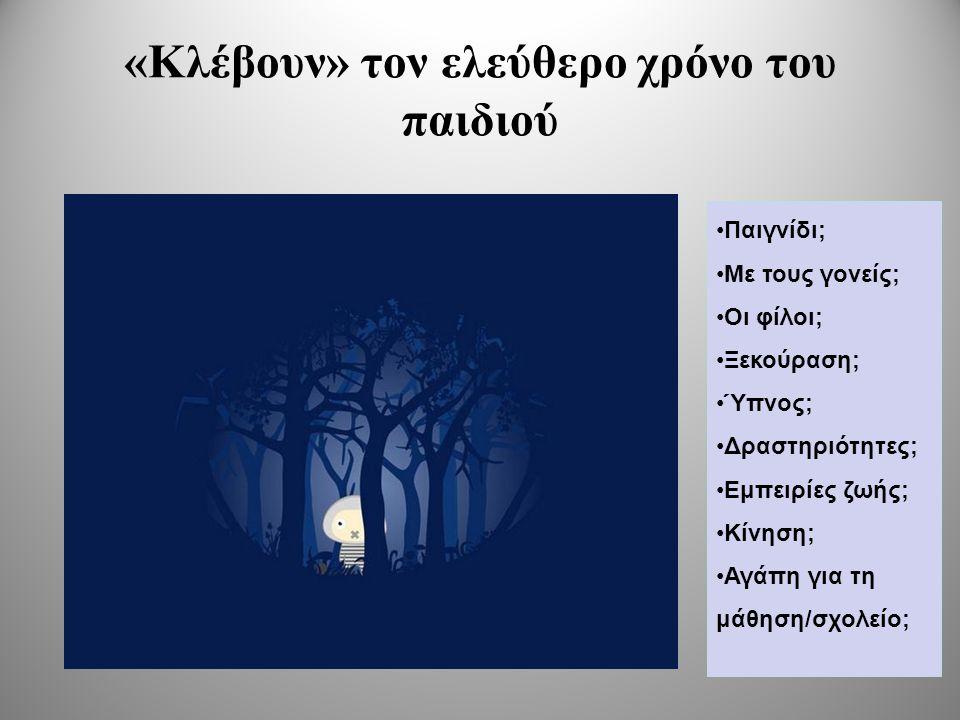 «Κλέβουν» τον ελεύθερο χρόνο του παιδιού •Παιγνίδι; •Με τους γονείς; •Οι φίλοι; •Ξεκούραση; •Ύπνος; •Δραστηριότητες; •Εμπειρίες ζωής; •Κίνηση; •Αγάπη