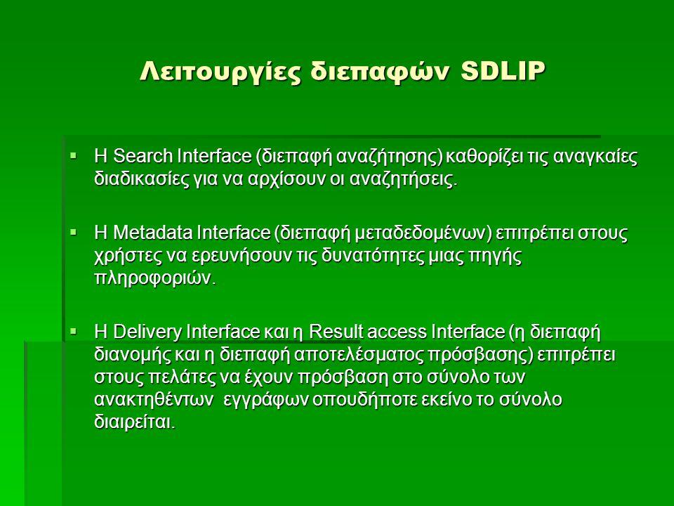 Λειτουργίες διεπαφών SDLIP  Η Search Interface (διεπαφή αναζήτησης) καθορίζει τις αναγκαίες διαδικασίες για να αρχίσουν οι αναζητήσεις.